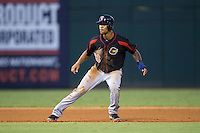 Byron Buxton (53) of the Rochester Red Wings takes his lead off of second base against the Charlotte Knights at BB&T BallPark on August 8, 2015 in Charlotte, North Carolina.  The Red Wings defeated the Knights 3-0.  (Brian Westerholt/Four Seam Images)