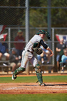 Dartmouth Big Green catcher Ben Rice (9) throws down to second base during a game against the Omaha Mavericks on February 23, 2020 at North Charlotte Regional Park in Port Charlotte, Florida.  Dartmouth defeated Omaha 8-1.  (Mike Janes/Four Seam Images)