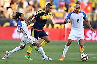 United States midfielder Jermaine Jones (13) and Colombia midfielder Edwin Cardona (8) battle for the ball during Copa America Centenario match, in Santa Clara, CA. Friday, Jun 03, 2016. Colombia won 2-0. (TFV Media via AP) *Mandatory Credit*