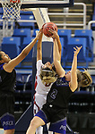Liberty's Rae Burrell fights for a rebound with  McQueen's Alisi Peaua, left, and Ryan Kindrick during the NIAA state basketball tournament in Reno, Nev., on Thursday, Feb. 22, 2018. Burrell had 28 points and eight rebounds as Liberty defeats McQueen 71-33. Cathleen Allison/Las Vegas Review-Journal