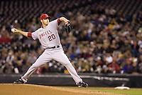 September 24, 2008: Jon Garland of the Los Angeles Angels of Anaheim toes the rubber against the Seattle Mariners at Safeco Field in Seattle, Washington.