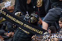 LOS ANGELES, CA - MARCH 01: A fan displays his scarf during pregame at LAFC's home opener against Inter Miami CF during a game between Inter Miami CF and Los Angeles FC at Banc of California Stadium on March 01, 2020 in Los Angeles, California.