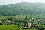Compton Bishop Somerset UK. Mendip Hills.  St Andrew's Church. Taken from lower slopes of Crook Peak.