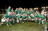 Photo: Richard Lane/Richard Lane Photography. England Legends v Ireland Legends. The Stuart Mangan Memorial Cup. 26/02/2010. Ireland celebrate winning 15-17.
