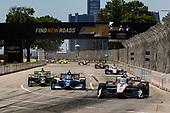 #2: Josef Newgarden, Team Penske Chevrolet, #10: Alex Palou, Chip Ganassi Racing Honda, #26: Colton Herta, Andretti Autosport Honda