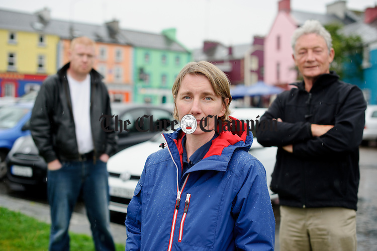 Kinvarra's Vicky Donnelly with John Griffin, at right, and Frank Naughton. Together they have co-ordinated a boycott of Israeli goods in relevant businesses in the village. Photograph by John Kelly.