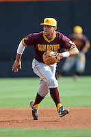 Arizona State Sun Devils shortstop Drew Stankiewicz #17 moves to field a grounder during a game against  the Tennessee Volunteers at Lindsey Nelson Stadium on February 23, 2013 in Knoxville, Tennessee. The Volunteers won 11-2.(Tony Farlow/Four Seam Images).