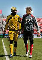 31 March 2011: Former teammates Columbus Crew midfielder Tony Tchani #6 talks with Toronto FC defender Adrian Cann #12 during the warm-up in a game between the Columbus Crew and the Toronto FC at BMO Field in Toronto, Ontario Canada..The Columbus Crew won 1-0.