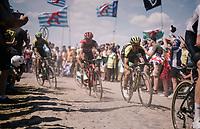 Adam Yates (GBR/Mitchelton-Scott) on pavé sector #4<br /> <br /> Stage 9: Arras Citadelle > Roubaix (154km)<br /> <br /> 105th Tour de France 2018<br /> ©kramon