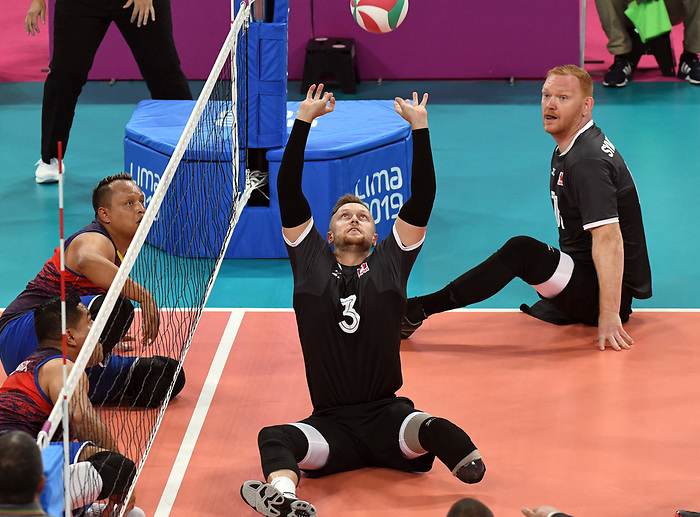 Darek Symonowics and Austin Hinchey, Lima 2019 - Sitting Volleyball // Volleyball assis.<br /> Canada competes in men's Sitting Volleyball // Canada participe au volleyball assis masculin. 24/08/2019.