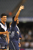 MELBOURNE, AUSTRALIA - FEBRUARY 5, 2010: Carlos Hernandez from Melbourne Victory celebrates a goal in round 26 of the A-league match between Melbourne Victory and North Queensland Fury at Etihad Stadium on February 5, 2010 in Melbourne, Australia. Photo Sydney Low www.syd-low.com