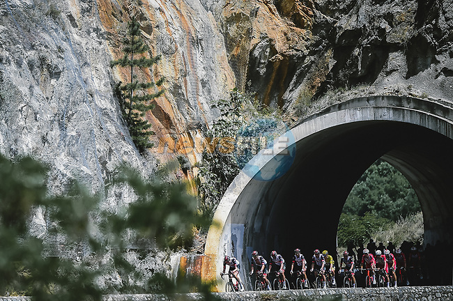 UAE Team Emirates on the front of the peloton during Stage 15 of the 2021 Tour de France, running 191.3km from Ceret to Andorre-La-Vieille, France. 11th July 2021.  <br /> Picture: A.S.O./Pauline Ballet | Cyclefile<br /> <br /> All photos usage must carry mandatory copyright credit (© Cyclefile | A.S.O./Pauline Ballet)
