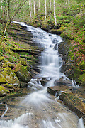 Plimpton Falls in Franconia, New Hampshire USA during the spring months. These falls are located on Meadow Brook. The Franconia map in the 1960 A.M.C White Mountains Hiking Guide shows this brook as Meadow Brook.