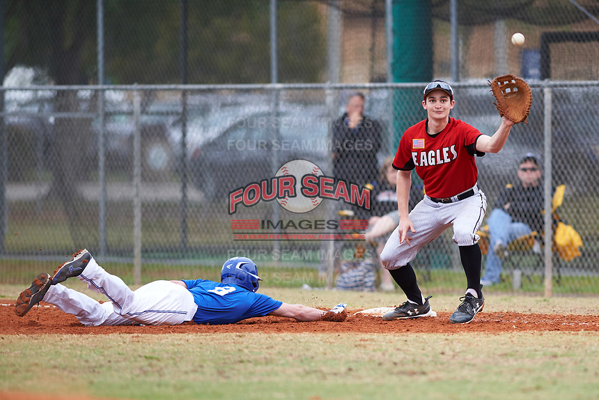 Edgewood College Eagles Paul Cappetta (34) stretches for a throw as Austin Gusewelle (8) dives back to first base during a game against the Illinois College Blueboys on March 14, 2017 at Terry Park in Fort Myers, Florida.  Edgewood defeated Illinois College 11-2.  (Mike Janes/Four Seam Images)