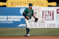Greensboro Grasshoppers second baseman Nick Gonzales (2) on defense against the Hudson Valley Renegades at First National Bank Field on September 2, 2021 in Greensboro, North Carolina. (Brian Westerholt/Four Seam Images)