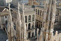- Milan, panorama of the city seen from the top of Duomo cathedral, Arengario palace....- Milano, panorama della città vista dalla sommità della cattedrale Duomo, palazzo dell'Arengario