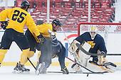 Quinn Gould (Merrimack - 10), Hampus Gustafsson (Merrimack - 20), Jordan Heywood (Merrimack - 4), Joe Pantalone (Merrimack - 29) -  - The participating teams in Hockey East's first doubleheader during Frozen Fenway practiced on January 3, 2014 at Fenway Park in Boston, Massachusetts.