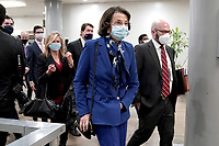 Sen. Dianne Feinstein (D-Calif.) arrives at the Capitol on Wednesday, February 10, 2021 for the second day of the impeachment trial of former President Donald Trump.<br /> CAP/MPI/RS<br /> ©RS/MPI/Capital Pictures