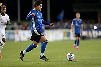 SAN JOSE, CA - MAY 15: Javier López #9 of the San Jose Earthquakes moves with the ball during a game between Portland Timbers and San Jose Earthquakes at PayPal Park on May 15, 2021 in San Jose, California.
