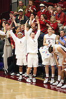 19 March 2007: Rosalyn Gold-Onwude, Markisha Coleman, Clare Bodensteiner, and Michelle Harrison during Stanford's 68-61 loss against the Florida State Seminoles in the 2007 NCAA Division I Women's Basketball Championship second round game at Maples Pavilion in Stanford, CA.