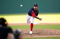 Pitcher Alex Scherff (23) of the Greenville Drive during a game against the Bowling Green Hot Rods on Thursday, May 6, 2021, at Fluor Field at the West End in Greenville, South Carolina. (Tom Priddy/Four Seam Images)