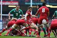 Pictured: Rhys Webb of Wales kicks the ball forward Saturday 14 March 2015<br />