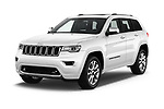 2018 JEEP Grand-Cherokee Overland 5 Door SUV Angular Front stock photos of front three quarter view