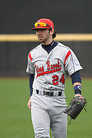 Stony Brook Seawolves outfielder Tanner Nivins #24 throwing in the outfield before a game against the  East Carolina University Pirates at Clark-LeClair Stadium on March 4, 2012 in Greenville, NC.  East Carolina defeated Stony Brook 4-3. (Robert Gurganus/Four Seam Images)