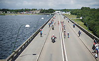2nd peloton over the dam<br /> <br /> Belgian National Road Cycling Championships 2016<br /> Les Lacs de l'Eau d'Heure
