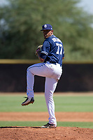 San Diego Padres pitcher Ronald Bolanos (77) delivers a pitch to the plate during an Instructional League game against the Texas Rangers on September 20, 2017 at Peoria Sports Complex in Peoria, Arizona. (Zachary Lucy/Four Seam Images)