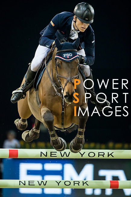 Max Kuhner of Austria riding PSG Future competes in the Longines Speed Challenge during the Longines Masters of Hong Kong at AsiaWorld-Expo on 10 February 2018, in Hong Kong, Hong Kong. Photo by Ian Walton / Power Sport Images