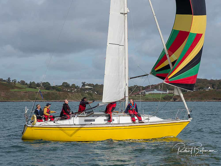 Robert Marchant's yellow–hulled Fulmar 32 Fulmar Fever is a SCORA stalwart. Up to seven Cork yachts will race to Dunmore East next Saturday.