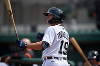 Detroit Tigers Spencer Torkelson (19) on deck during a Florida Instructional League game against the Pittsburgh Pirates on October 16, 2020 at Joker Marchant Stadium in Lakeland, Florida.  (Mike Janes/Four Seam Images)