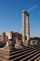 Picture of the steps & columns of the ruins of the Ancient Ionian Greek  Didyma Temple of Apollo & home to the Oracle of Apollo.  Also known as the Didymaion completed circa 550 BC. modern Didim in Aydin Province, Turkey.
