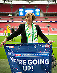 Norwich City 2 Middlesbrough 0, 25/05/2015. Wembley Stadium, Championship Play Off Final. Norwich City Majority Shareholder Delia Smith celebrates. A match worth £120m to the victors. On the day Norwich City secured an instant return to the Premier League with victory over Middlesbrough in front of 85,656. Photo by Simon Gill.