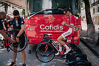 Anthony Turgis (FRA/Cofidis) warming up at the race start in Luchon<br /> <br /> Stage 17: Bagnères-de-Luchon > Saint-Lary-Soulan (65km)<br /> <br /> 105th Tour de France 2018<br /> ©kramon