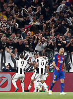 Football Soccer: UEFA Champions UEFA Champions League quarter final first leg Juventus-Barcellona, Juventus stadium, Turin, Italy, April 11, 2017. <br /> Juventus Paulo Dybala celebrates with his teammates after scoring during the Uefa Champions League football match between Juventus and Barcelona at the Juventus stadium, on April 11 ,2017.<br /> UPDATE IMAGES PRESS/Isabella Bonotto