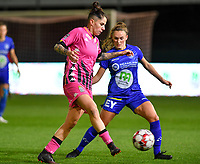 Ylenia Carabott (7 Charleroi) pictured in a duel with Emma Van Britsom (6 Gent) during a female soccer game between  AA Gent Ladies and Sporting Charleroi Feminin on the fifth matchday of the 2020 - 2021 season of Belgian Scooore Womens Super League , friday 16 th of October 2020  in Oostakker , Belgium . PHOTO SPORTPIX.BE | SPP | DAVID CATRY