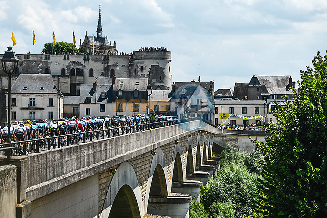 The peloton pass through Amboise during Stage 6 of the 2021 Tour de France, running 160.6km from Tours to Chateauroux, France. 1st July 2021.  <br /> Picture: A.S.O./Charly Lopez   Cyclefile<br /> <br /> All photos usage must carry mandatory copyright credit (© Cyclefile   A.S.O./Charly Lopez)