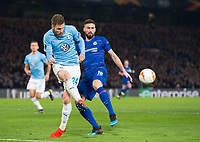 Malmo FF Lasse Nielsen and Chelsea's Olivier Giroud during the UEFA Europa League match between Chelsea and Malmo at Stamford Bridge, London, England on 21 February 2019. Photo by Andrew Aleksiejczuk / PRiME Media Images.