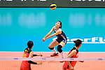 Mengjie Wang of China passes the ball during the FIVB Volleyball Nations League Hong Kong match between China and Argentina on May 29, 2018 in Hong Kong, Hong Kong. Photo by Marcio Rodrigo Machado / Power Sport Images
