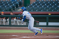 AZL Royals center fielder Raymond Lopez (15) starts down the first base line during an Arizona League game against the AZL Giants Black at Scottsdale Stadium on August 7, 2018 in Scottsdale, Arizona. The AZL Giants Black defeated the AZL Royals by a score of 2-1. (Zachary Lucy/Four Seam Images)