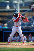 Reading Fightin Phils designated hitter Cornelius Randolph (2) at bat during the second game of a doubleheader against the Portland Sea Dogs on May 15, 2018 at FirstEnergy Stadium in Reading, Pennsylvania.  Reading defeated Portland 9-8.  (Mike Janes/Four Seam Images)