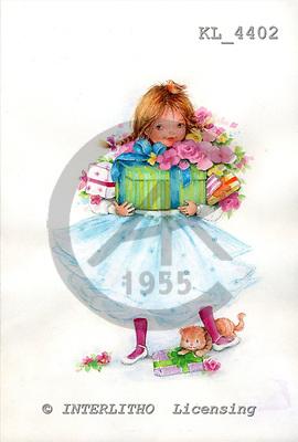 Interlitho, CHILDREN, paintings+++++,girl,gifts,red cat,KL4402,#k# Kinder, niños, illustrations, pinturas ,everyday