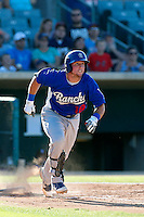 Pratt Maynard #18 of the Rancho Cucamonga Quakes runs to first base during a game against the Lancaster JetHawks at The Hanger on August 25, 2013 in Lancaster, California. Lancaster defeated Rancho Cucamonga, 7-1. (Larry Goren/Four Seam Images)