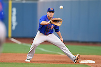 Midland RockHounds first baseman Anthony Aliotti (18) waits for a throw during a game against the Tulsa Drillers on May 30, 2014 at ONEOK Field in Tulsa, Oklahoma.  Tulsa defeated Midland 7-1.  (Mike Janes/Four Seam Images)