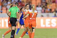 Houston, TX - Sunday Sept. 25, 2016: Carli Lloyd celebrates scoring, Kealia Ohai during a regular season National Women's Soccer League (NWSL) match between the Houston Dash and the Seattle Reign FC at BBVA Compass Stadium.