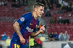 Lucas Digne of FC Barcelona reacts during the UEFA Champions League 2017-18 match between FC Barcelona and Olympiacos FC at Camp Nou on 18 October 2017 in Barcelona, Spain. Photo by Vicens Gimenez / Power Sport Images