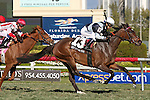 HALLANDALE BEACH, FL - FEBRUARY 27:   Faufiler #13 with Edgar Prado up wins by 1/2 length the Sand Springs Black Type Stakes over Partisan Politics #8 with Javier Castallano at Gulfstream Park on February 27, 2016 in Hallandale Beach, Florida. (Photo by Liz Lamont)