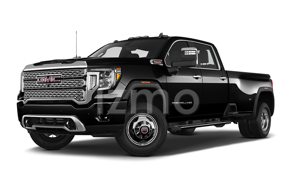 Stock pictures of low aggressive front three quarter view of 2020 GMC Sierra Denali 4 Door Pick-up Low Aggressive